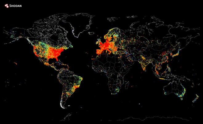 Carte des machines connectées à Internet à travers le monde
