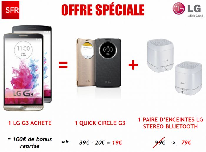 bon plan lg g3 sfr vous offre 100 pour la reprise de votre ancien t l phone. Black Bedroom Furniture Sets. Home Design Ideas