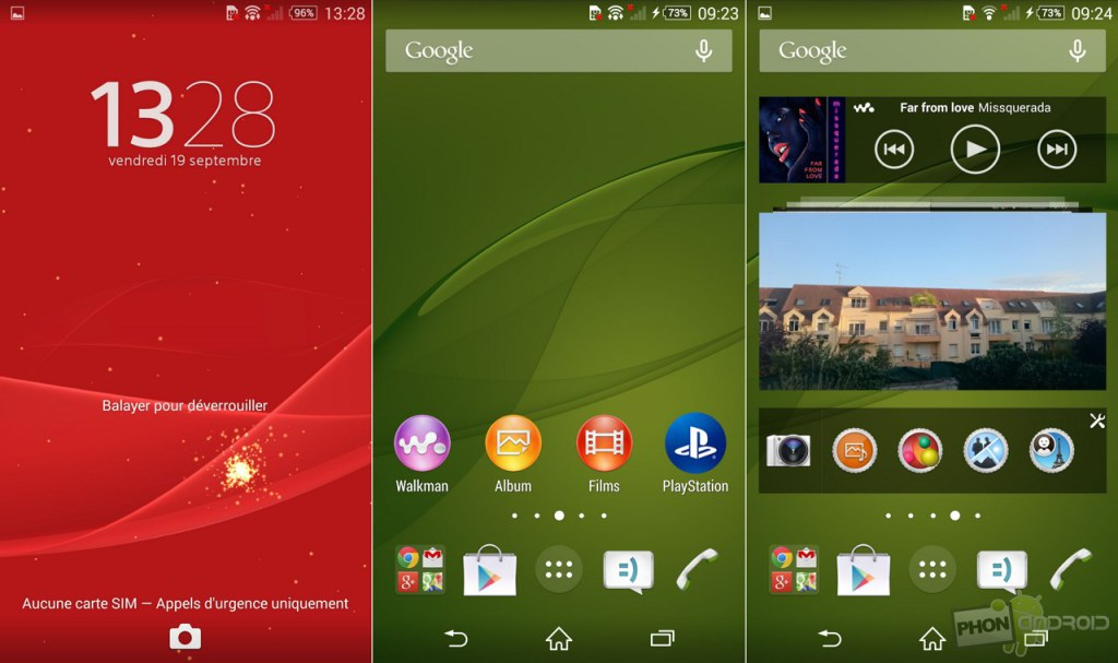 sony xperia z3 interface