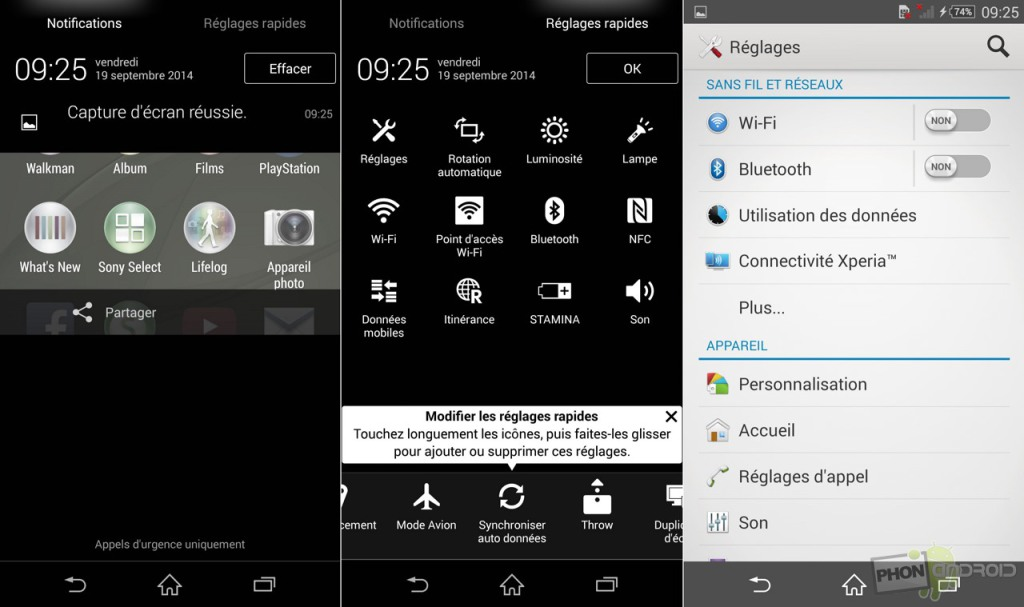 sony xperia z3 reglage notification