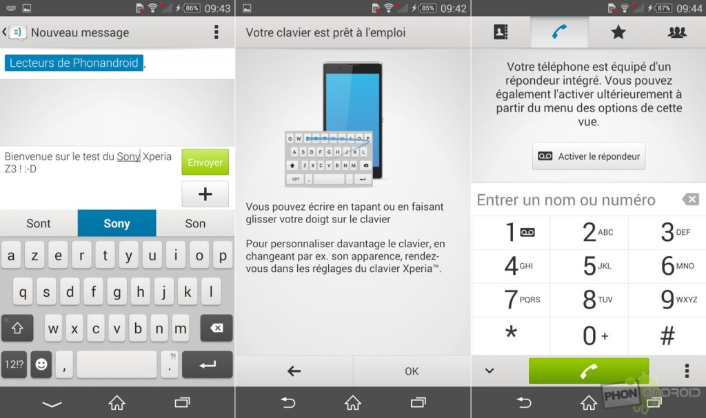sony xperia z3 telephone messagerie