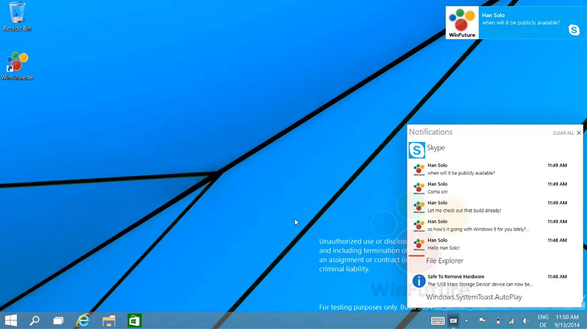 windows 9 notification leak video