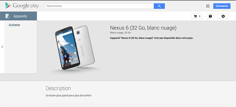 Nexus 6 Blanc play store