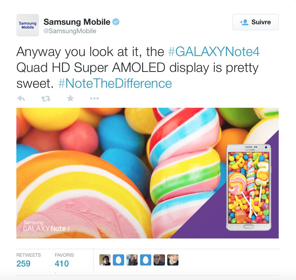 Galaxy Note 4 Tweet Android lollipop