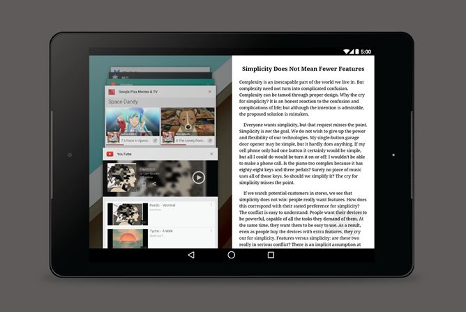 Android L multifenêtres