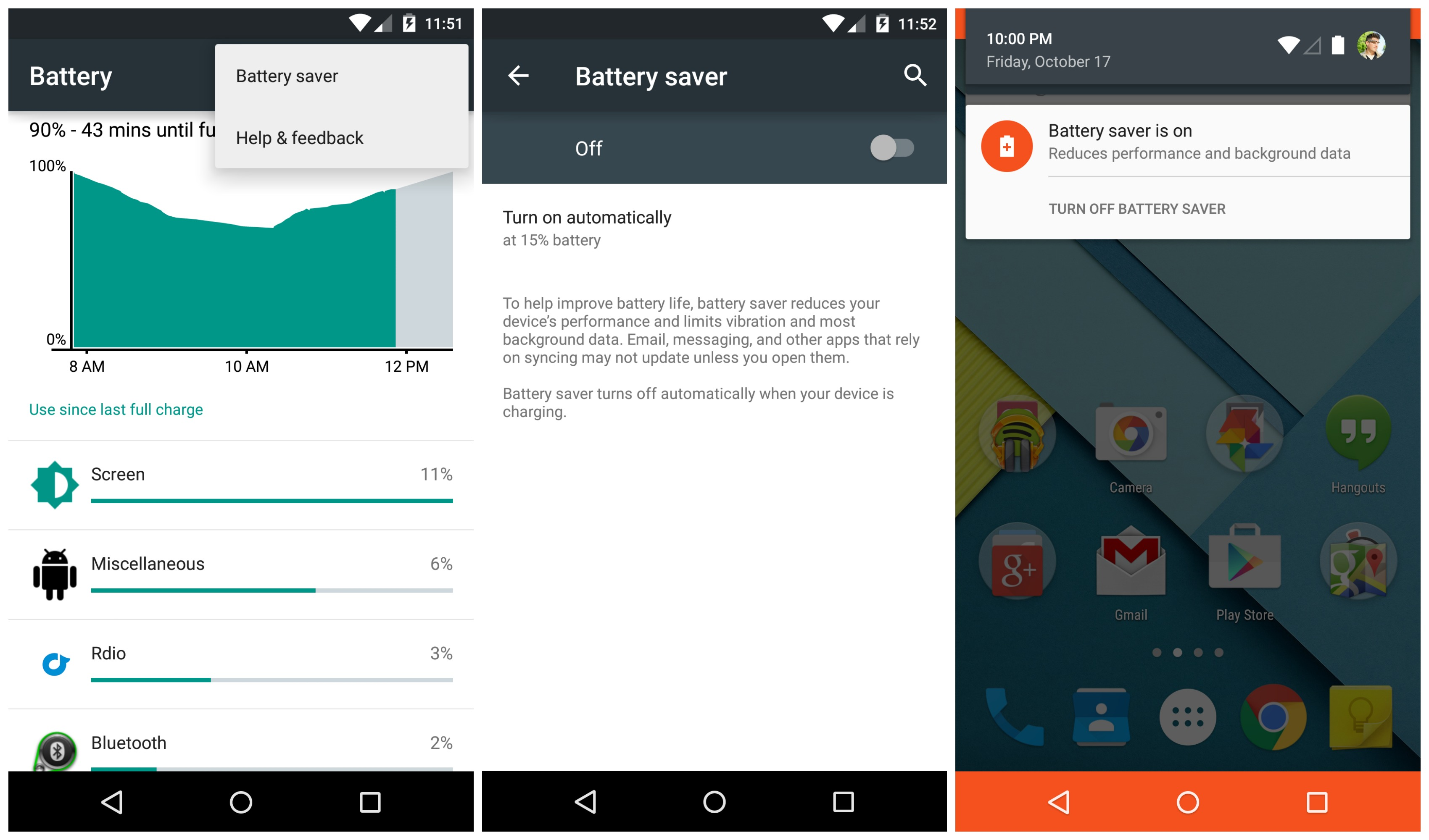 android lollipop battery saver