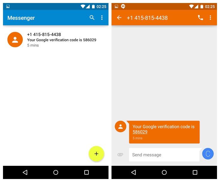 Android Lollipop Messenger sur Nexus 4