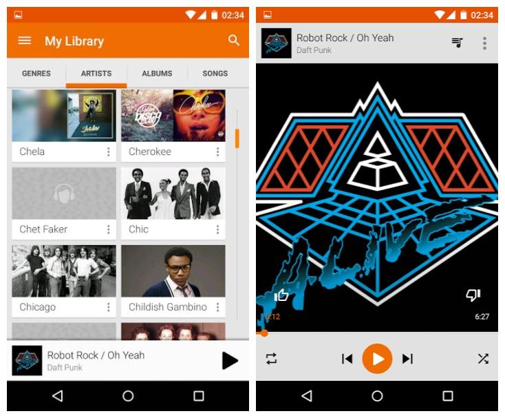 Android Lollipop Play Music sur Nexus 4