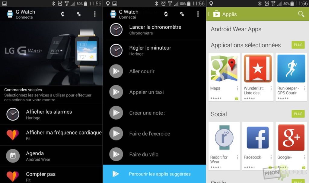 android wear interface