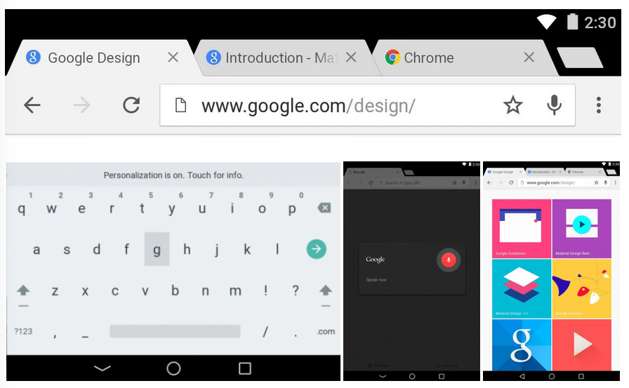 Android L Chrome bêta
