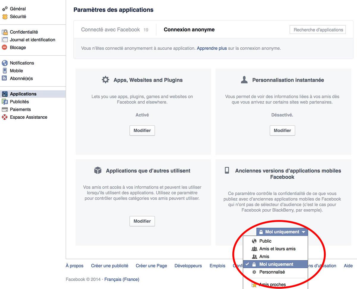 confidentialite facebook
