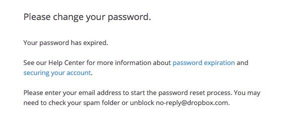 mot de passe Dropbox