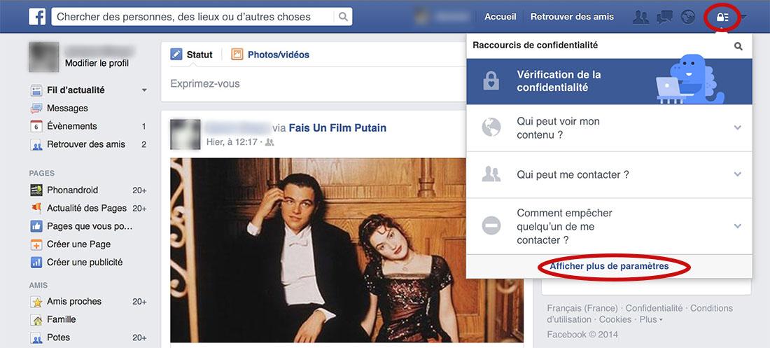 facebook confidentialité réglages