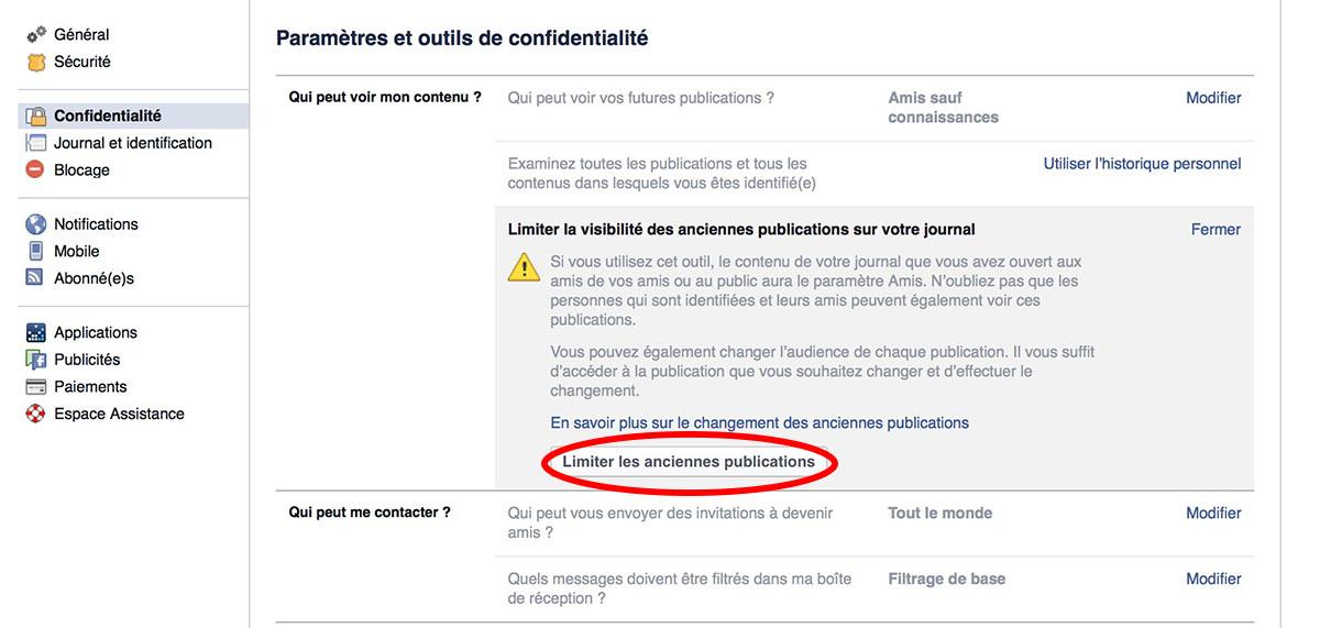 facebook parametre confidentialite