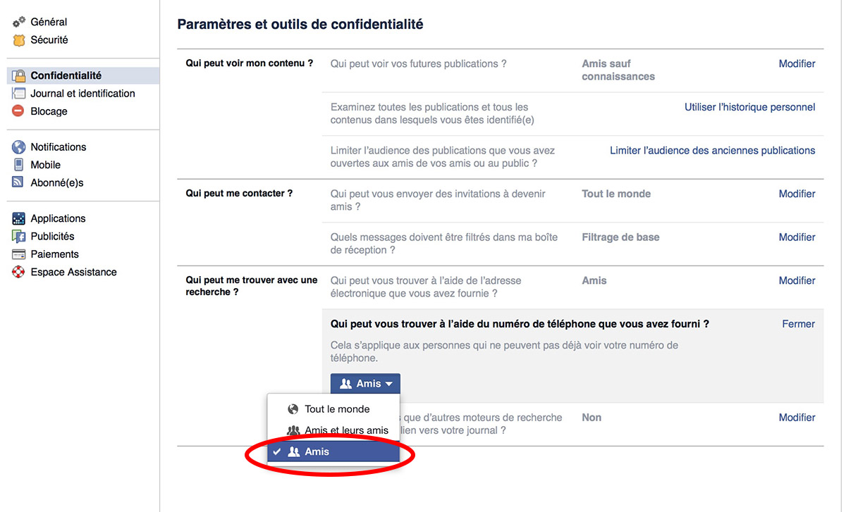 facebook securite