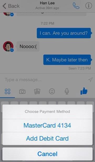 facebook transfert argent