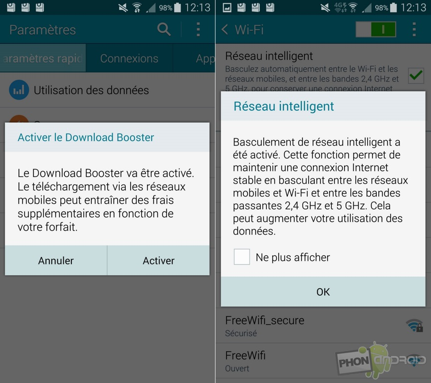 galaxy note 4 reseau intelligent