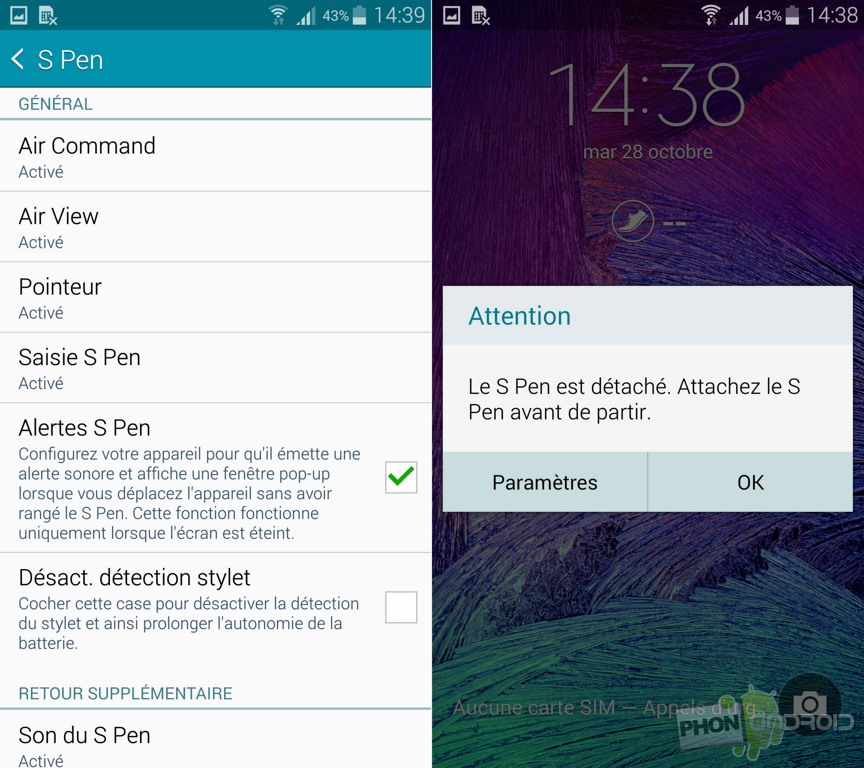 galaxy note 4 s pen alerte
