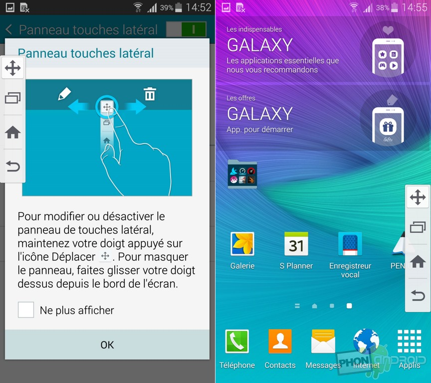 galaxy note 4 touche lateral