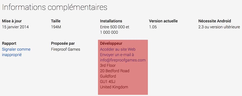 google play store adresse developpeur