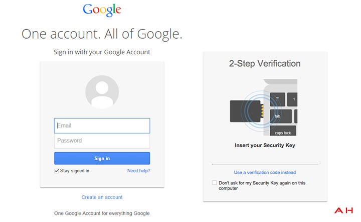 google securite cle physique