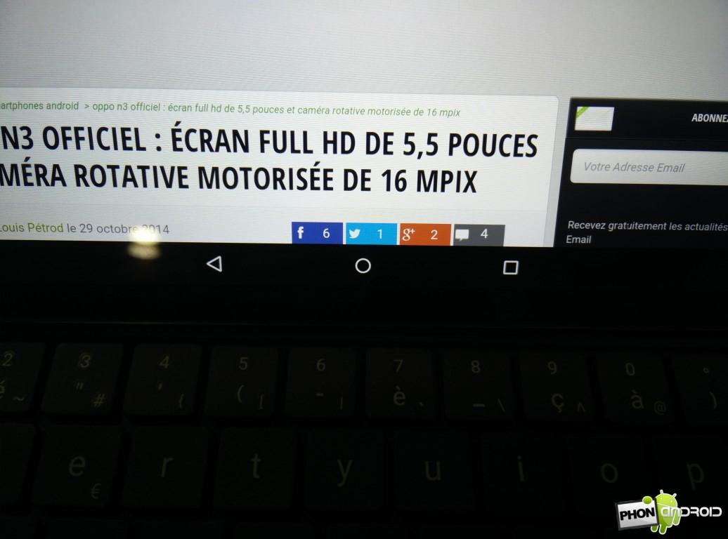 Nexus 9 détail clavier et inteface