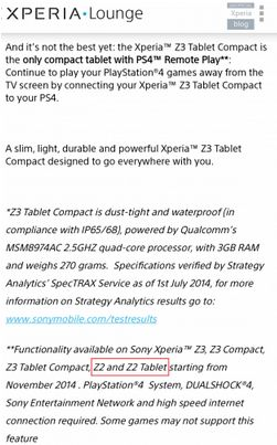 PS4 Remote Play Xperia Z2