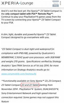 PS4 Remote Play, PS4 Remote Play bientôt sur les Sony Xperia Z2 et Z2 Tablet