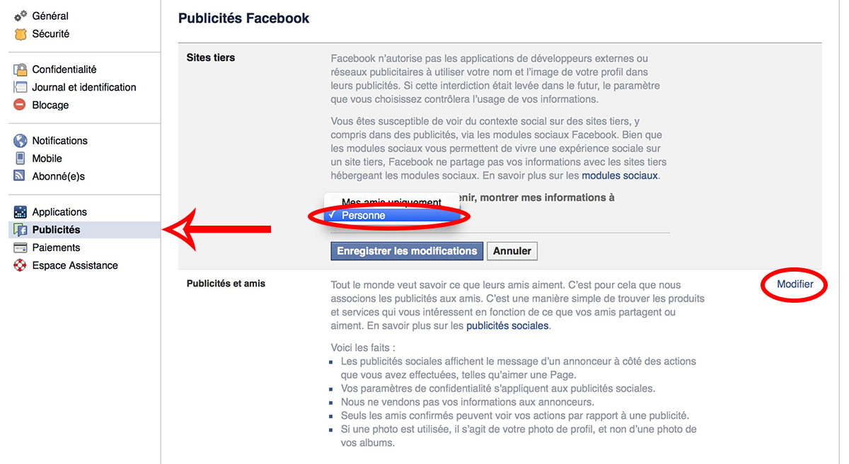 reglages confidentialite facebook