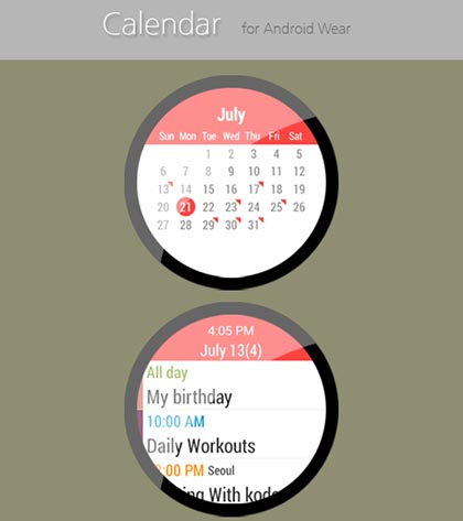 selection applications android wear calendar