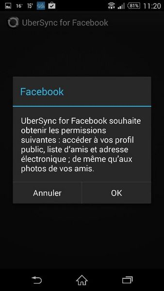 Synchroniser photos contacts Facebook