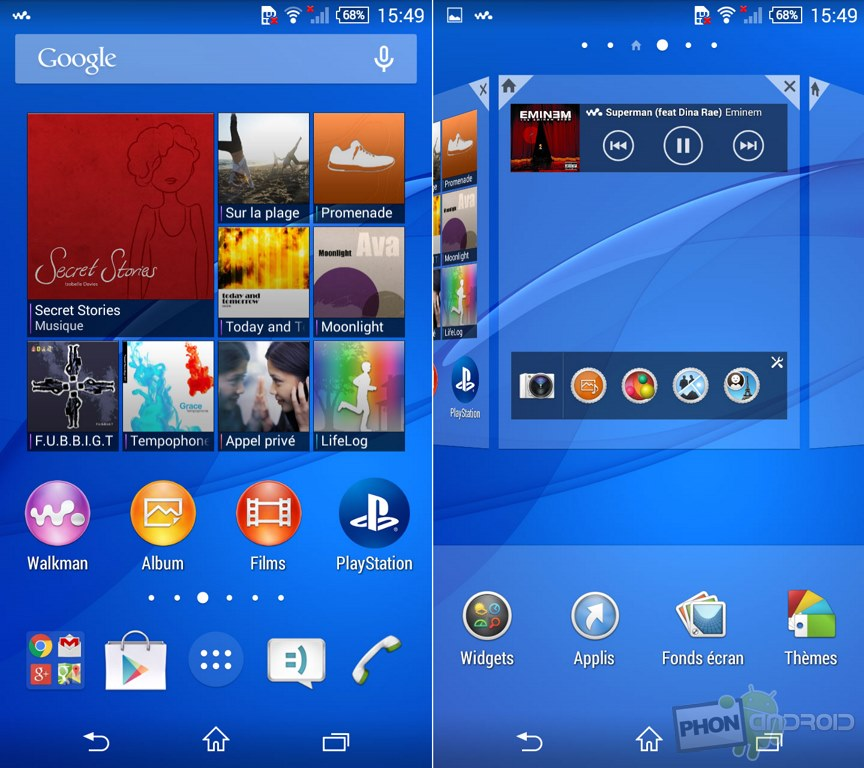 xperia z3 compact interface sony