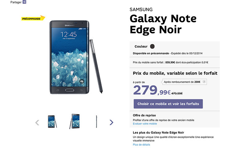 galaxy note edge prix sfr