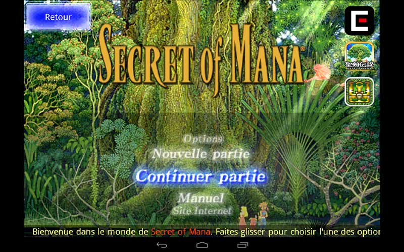 Le menu de Secret of Mana sous Android