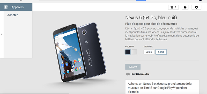 nexus 6 12 novembre play store