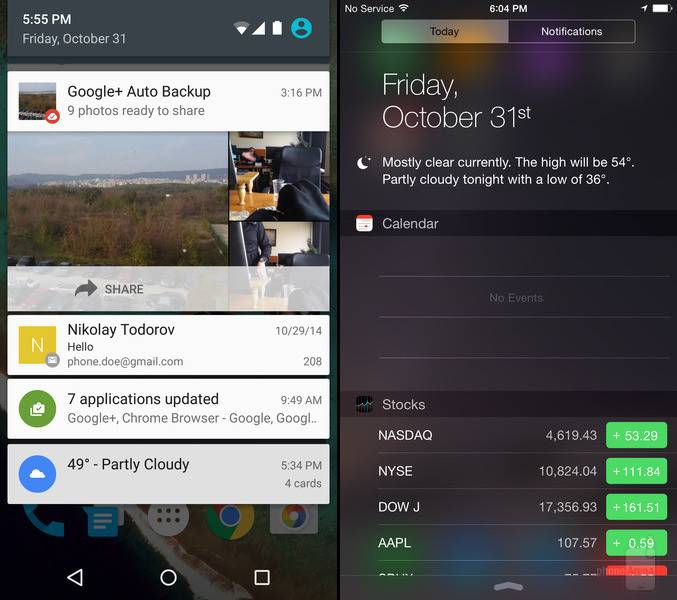 Android 5.0 Lollipop iOS 8