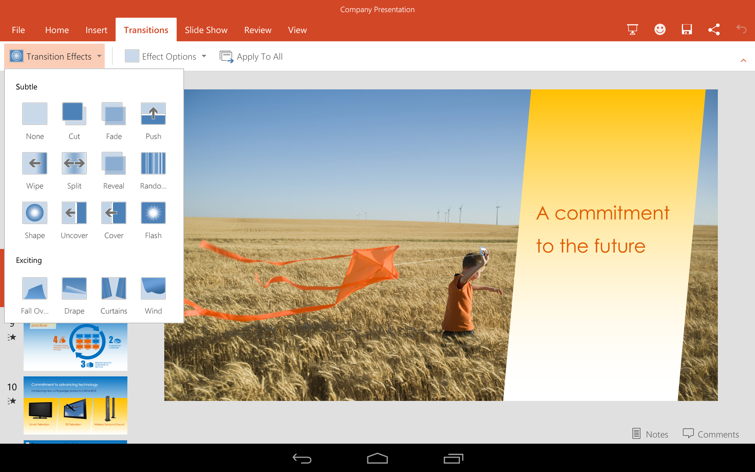 powerpoint tablettes android