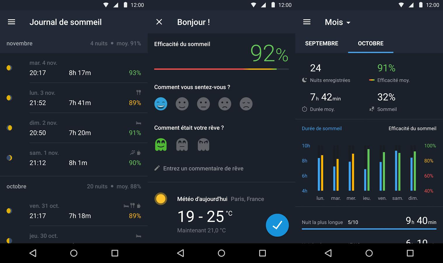 application android reveil cycle sommeil