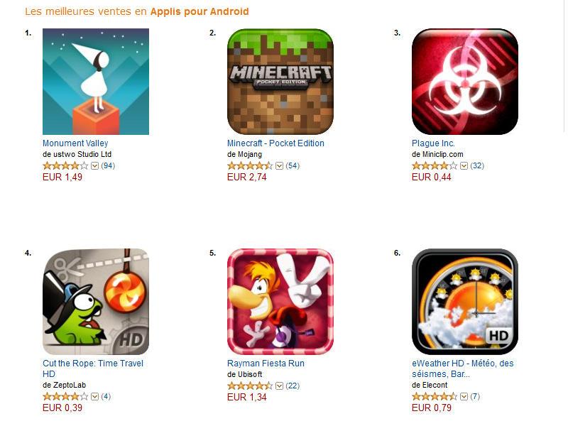 Amazon App-Shop moitié-prix sur le catalogue