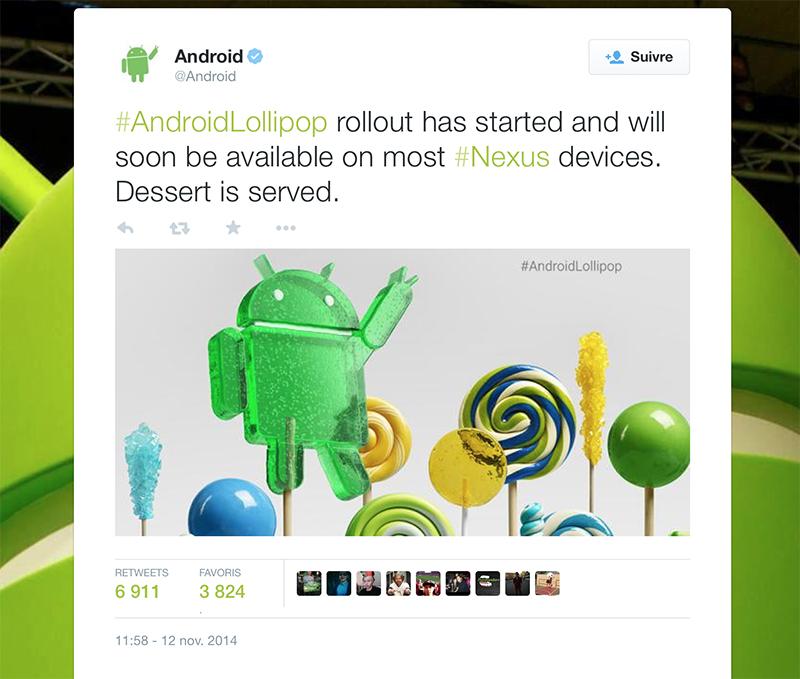 android lollipop nexus officiel