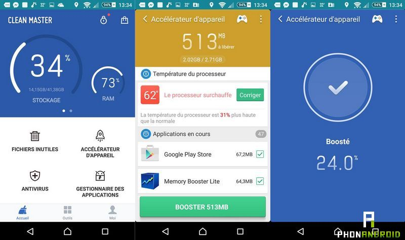 application RAM Android