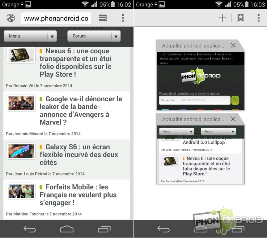 Huawei Honor 6 navigateur web