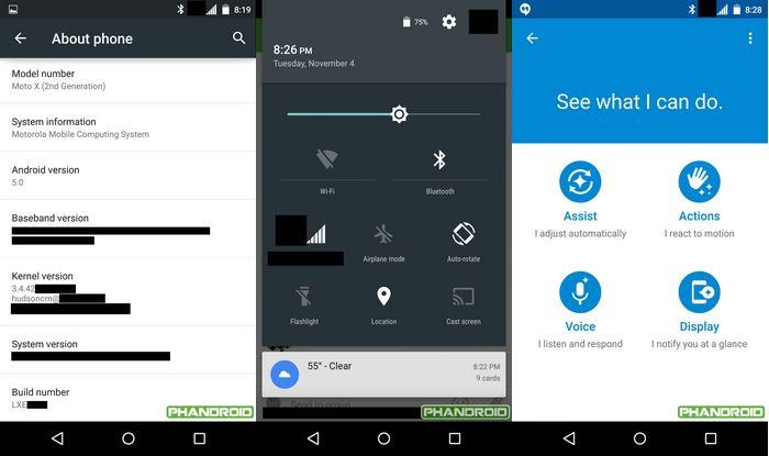 Mise à jour Android 5.0 Lollipop Moto X 2014