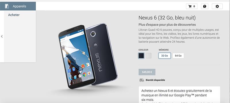 nexus 6 play store france