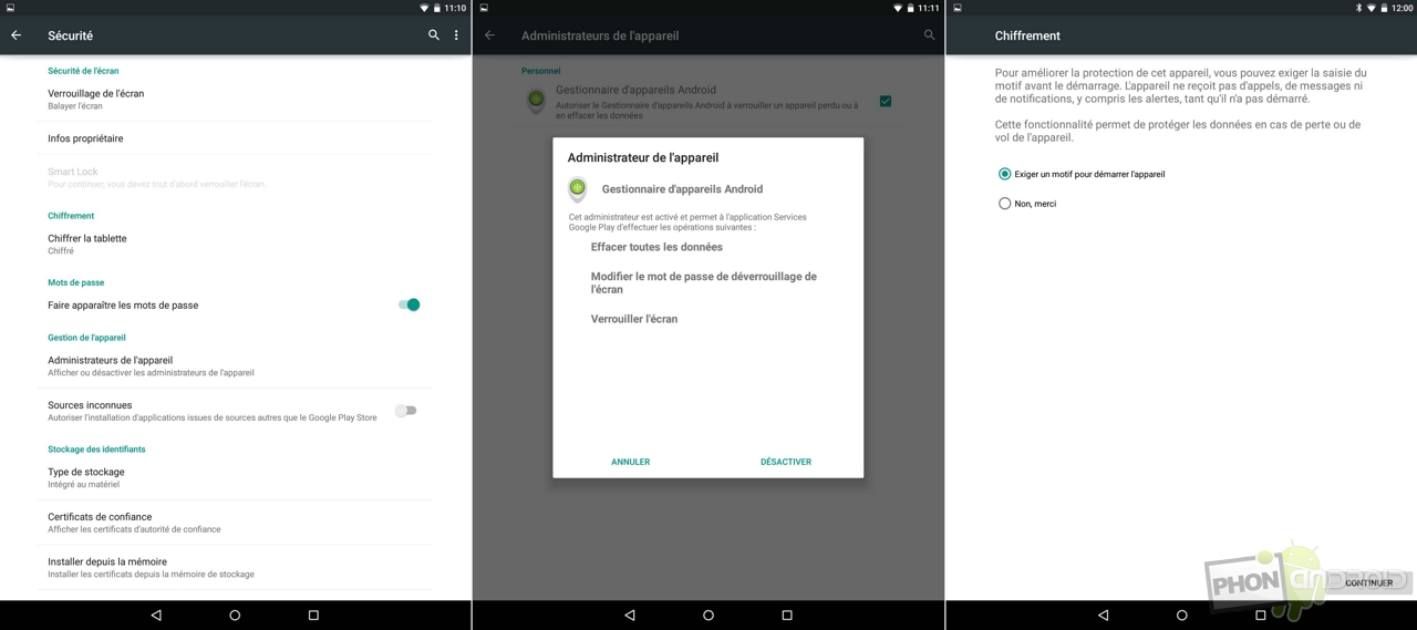 nexus 9 securite donnees