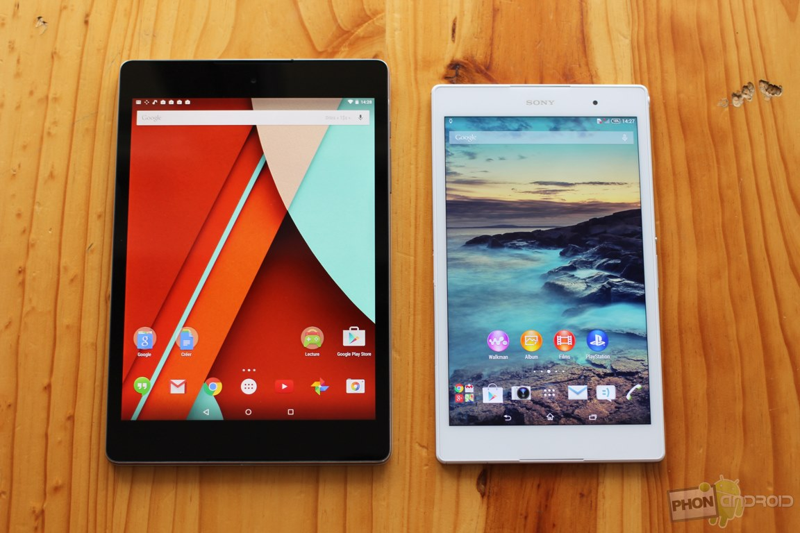 nexus 9 vs sony xperia z3 tablet compact ecran