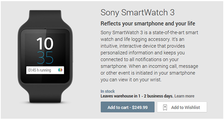sony smartwatch 3 sortie play store