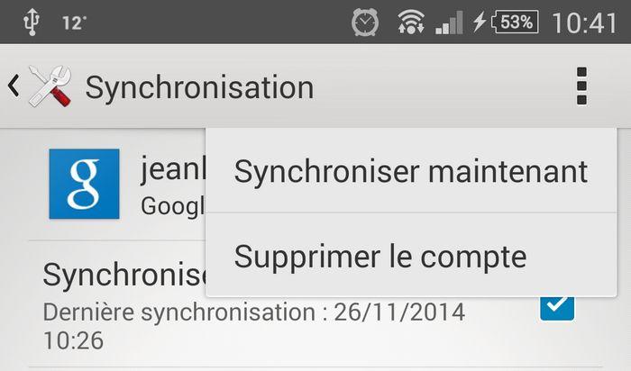 Le menu de synchronisation sous Android 4.4.4 KitKat.