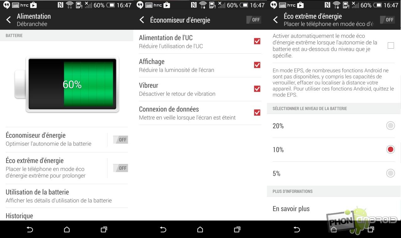 Test HTC Desire Eye la batterie et l'autonomie