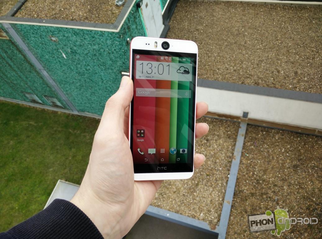 Test HTC Desire Eye avec luminosité au maximum en extérieur
